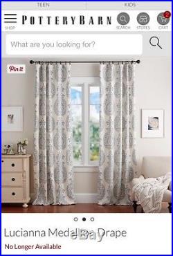 Pottery Barn Lucianna Drape Gray 84 Pole Pocket Curtain New Set Of Two