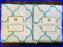 Pottery Barn Lucky Clover Embroidered Blackout Curtains Drapes Beach Decor Teen
