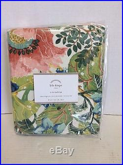 Pottery Barn Lyla Garden Floral Spring Lined Drapes Curtains Panels 50x108  Poppy