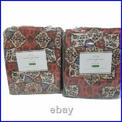 Pottery Barn Lyric Print Curtain Drapes 50x84 set of 2 Warm Multi