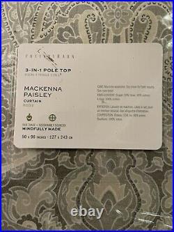 Pottery Barn Mackenna Paisley Drape Curtain (2) 50 x 96 Taupe