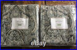 Pottery Barn Mackenna Paisley Drapes Curtains Set (2) NWT 50x96 Blue HTF