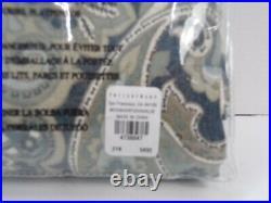 Pottery Barn Mackenna Paisley Linen Cotton Rod Curtain 50x 96 Blue S/2 #4956