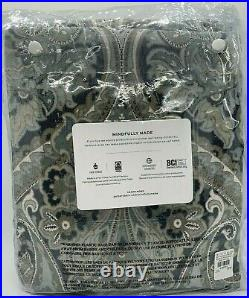 Pottery Barn Mackenna Paisley Linen/Cotton Rod Pocket Curtain 50 x 108, Blue