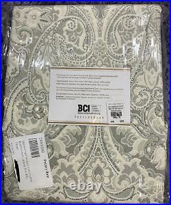 Pottery Barn Mackenna Paisley Linen/Cotton Rod Pocket Curtain, 50w x 108l, Taupe