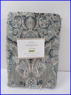 Pottery Barn Mackenna Paisley Linen Cotton Rod Pocket Curtain 50x 96 Blue #4954