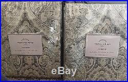 Pottery Barn Mackenna paisley 50x96 drape TAUPE GRAY TWO PANELS cotton lined