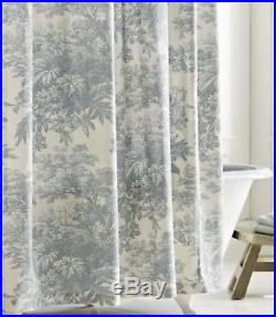 Pottery Barn Matine Toile Shower Curtain-Cotton Linen-Blue/Green-NEW