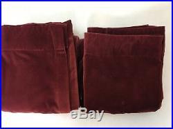 Pottery Barn Merlot Red Velvet Curtain Panels Set of 2 48 x 82 Rod Pockets