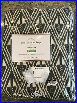 Pottery Barn Mitzi Print Curtain Charcoal Multi 96 x 50 NEW Cotton Lining