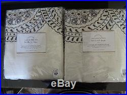 Pottery Barn NORA EMBROIDERED MEDALLION DRAPES-SET OF 2-IVORY/GREY-96