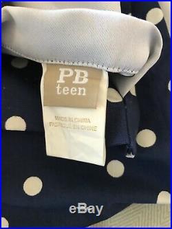 Pottery Barn PB Teen PBTeen Curtains 96 in Navy Polka Dot 4 Panels Blackout