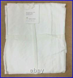Pottery Barn PB White Belgian Flax Linen Hemstitch Shower Curtain 72x72 white