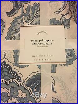 Pottery Barn Paige Palampore Birdie Floral Shower Curtain 72 X 72 New