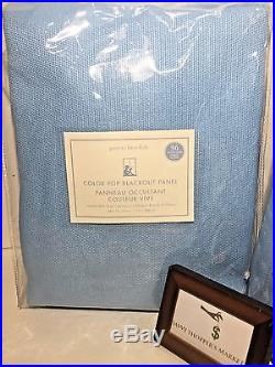 Pottery Barn Pair (set Of 2) Color Pop Blackout Panels Blue White 44 X 96 Nwt