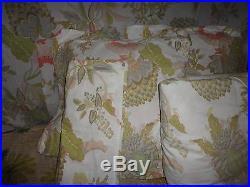 Pottery Barn Palmapore Floral Aqua Coral 5pc Full/queen Duvet Shams S/curtain