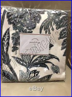 Pottery Barn Pascal Floral Drapes Curtains Panels Linen Pole 50x84 Midnight Blue