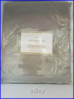 Pottery Barn Platinum Gray Silk Dupioni Drape Blackout Lining 50 X 108