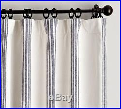 Pottery Barn RIVIERA STRIPE DRAPES With BLACKOUT LINER-50 X 84-BLUE-NEW