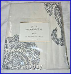 Pottery Barn Rayna Paisley Drape Gray 50 x 84 Cotton Linen Curtain Panel New