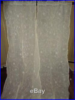Pottery Barn Remy Off-white Embroidered Semi Sheer (pair) Panels 40 X 96