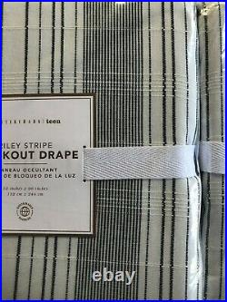 Pottery Barn Riley Stripe Curtain Drape 52x96 Blackout Cotton Beach White Navy