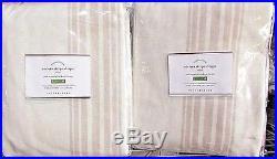 Pottery Barn Riviera Stripe Blackout Drapes, Set Of 2 Sandalwood, 96l New