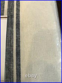 Pottery Barn Riviera Stripe Curtain Drape Panel 50x84 Navy Blackout Linen Cotton