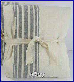 Pottery Barn Riviera Stripe Drape Blackout Curtain 50X 108 Charcoal Gray #6987