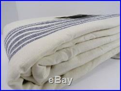 Pottery Barn Riviera Stripe Panel Drape Blackout Curtain 84 Navy Blue S/2 #4915