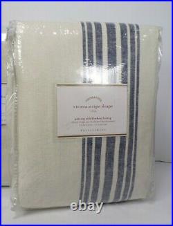 Pottery Barn Riviera Stripe Panel Drape Curtain Blackout 50x84 Navy Blue #9494