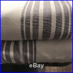 Pottery Barn Riviera Stripe Window Drape 2 Panels Grey-Pole Top 50 X 96