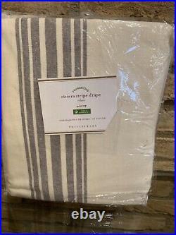 Pottery Barn Riviera Stripe cotton lining Drape curtain Charcoal Gray50x108 new