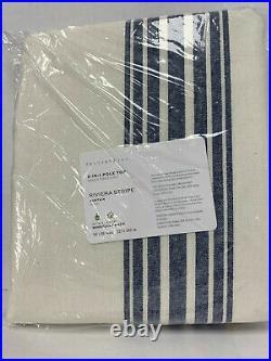 Pottery Barn Riviera Striped Linen/Cotton Cotton Lining Curtain 96 Navy Blue