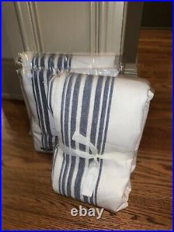 Pottery Barn Riviera Striped Linen/Cotton Pole Top Curtain 50x96 Navy