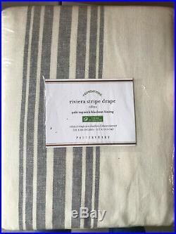 Pottery Barn Riviera Striped Rod Pocket Blackout Curtain 84 Charcoal