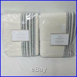 Pottery Barn Riviera stripe 50x84 set of 2 Charcoal Curtain Drapes Blackout