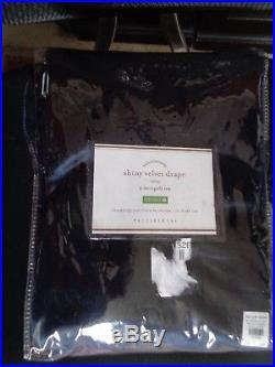 Pottery Barn SHINY VELVET DRAPE-INDIGO BLUE-50 X 96-NEW IN PACKAGE