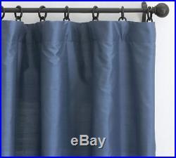 Pottery Barn SILK DUPIONI BLACKOUT Lined Drape Lagoon Blue 50X108 NWT
