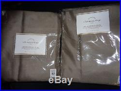 Pottery Barn SILK DUPIONI DRAPES-SET OF 2-BLACKOUT LINED-BROWNSTONE-50 X 84-NIP