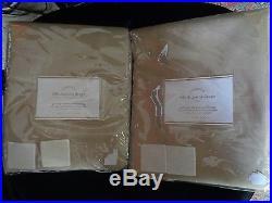 Pottery Barn SILK DUPIONI DRAPES-SET OF 2-BLACKOUT LINED-PARCHMENT-50 X 84-NIP
