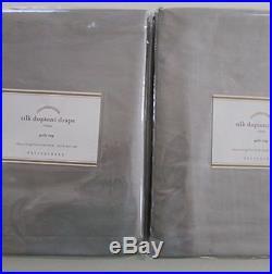 Pottery Barn SILK DUPIONI POLE POCKET DRAPE Set of Two50 x 96PlatinumNWT
