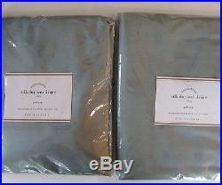 Pottery Barn SILK DUPIONI POLE POCKET DRAPE Set of Two 50 x 84 Blue Dawn NWT