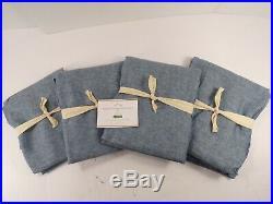 Pottery Barn S/4 Belgian Linen Flax Rod Pocket Sheer Curtain Chambray #7822