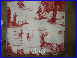 Pottery Barn Santa Toile Shower Curtain Red