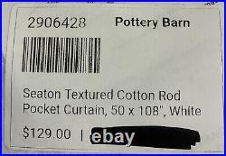 Pottery Barn Seaton Textured Cotton Rod Pocket Curtain, 50 x 108, White