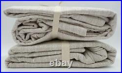 Pottery Barn Seaton Textured Curtain Drape Cotton Lined 50x96 Neutral S/2 #B8