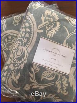 Pottery Barn Set/2 Alessandra Floral Pole Drapes Porcelain Blue 50x 96L Blackout