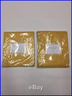 Pottery Barn Set 2 Belgian Flax Linen Drapes Yellow 84 Pole Curtain Sheer Sunny