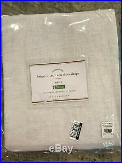 Pottery Barn Set 2 Belgian Flax Linen Poletop Sheer Curtains 50 x 108 White